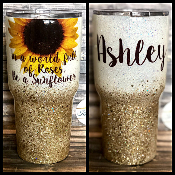 In a world full of roses be a Sunflower -Gold Chunky Glitter Tumbler
