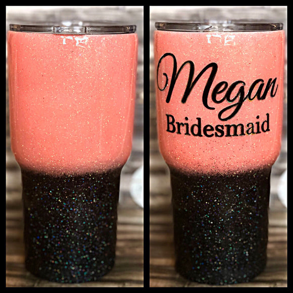 Coral to Black Ombré Glitter Tumbler