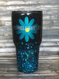 Black to turquoise chunky Ombre Glitter Tumbler