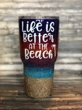 Sunset Beach Glitter Tumbler