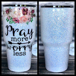 Pray More Worry Less Floral Glitter Coated Tumbler