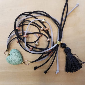 Hand Crafted Suede 3 Strand Adjustable Pendant & Bracelet Lava Stone