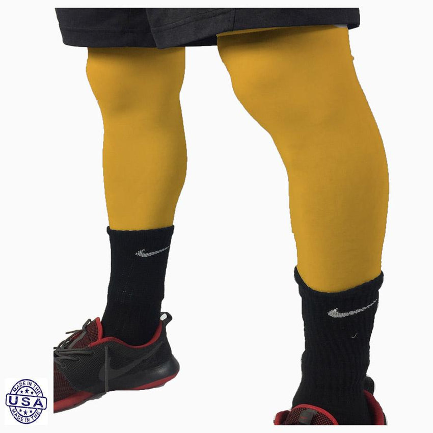 Pair of Athletic Yellow Basketball Leg Sleeves
