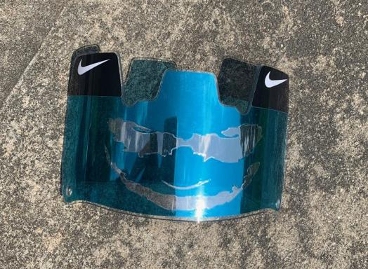 Blue Chrome Joker Custom Football Visor