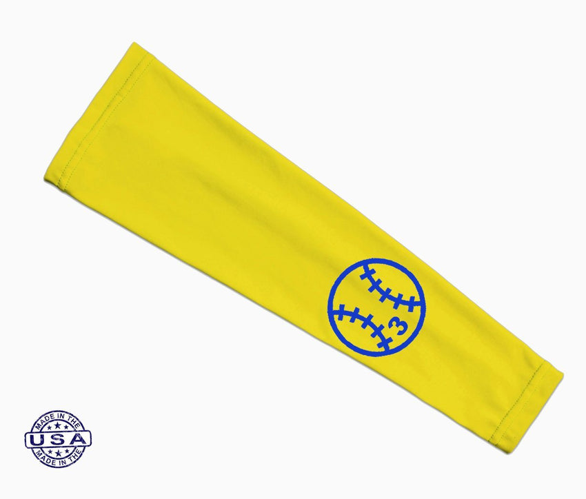 Bright Yellow Custom Baseball Number Arm Sleeve