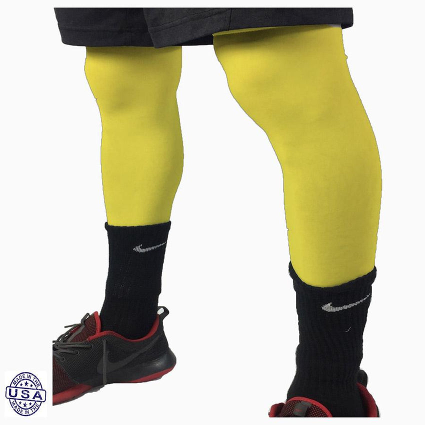 Pair of Bright Yellow Basketball Leg Sleeves