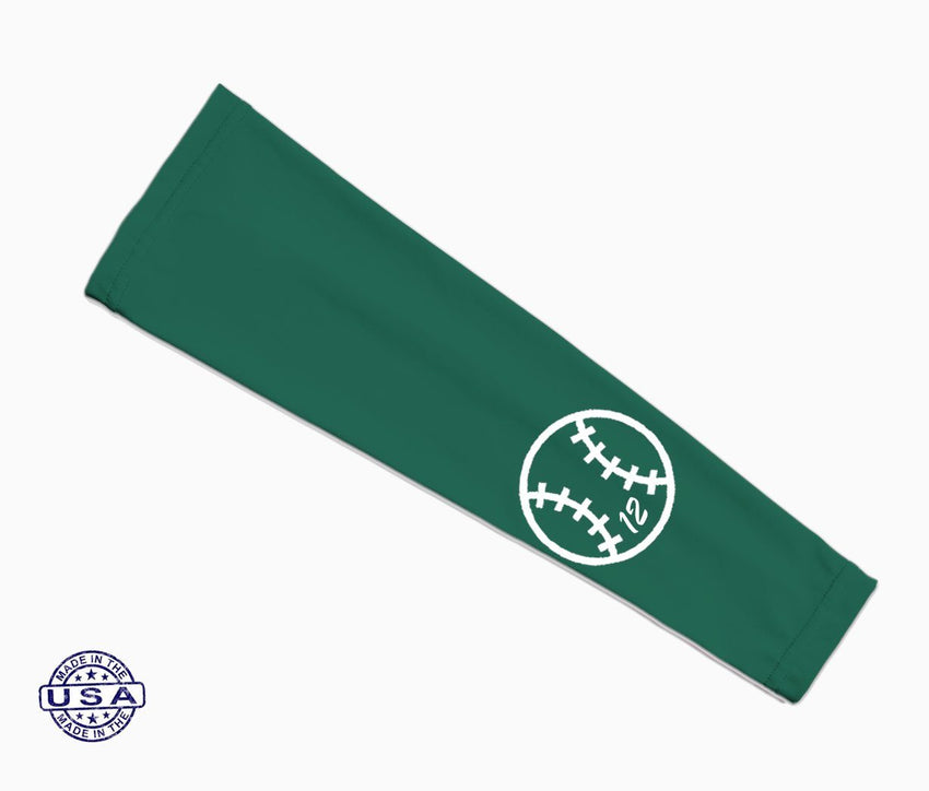 Celtics Green Custom Baseball Number Arm Sleeve