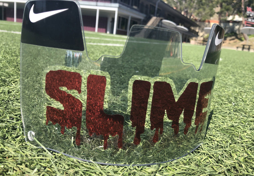 Clear Red SLIME Custom Football Visor