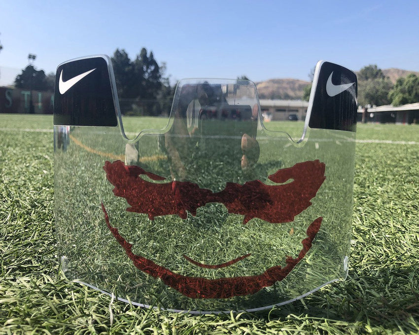 Clear Red Joker Custom Football Visor