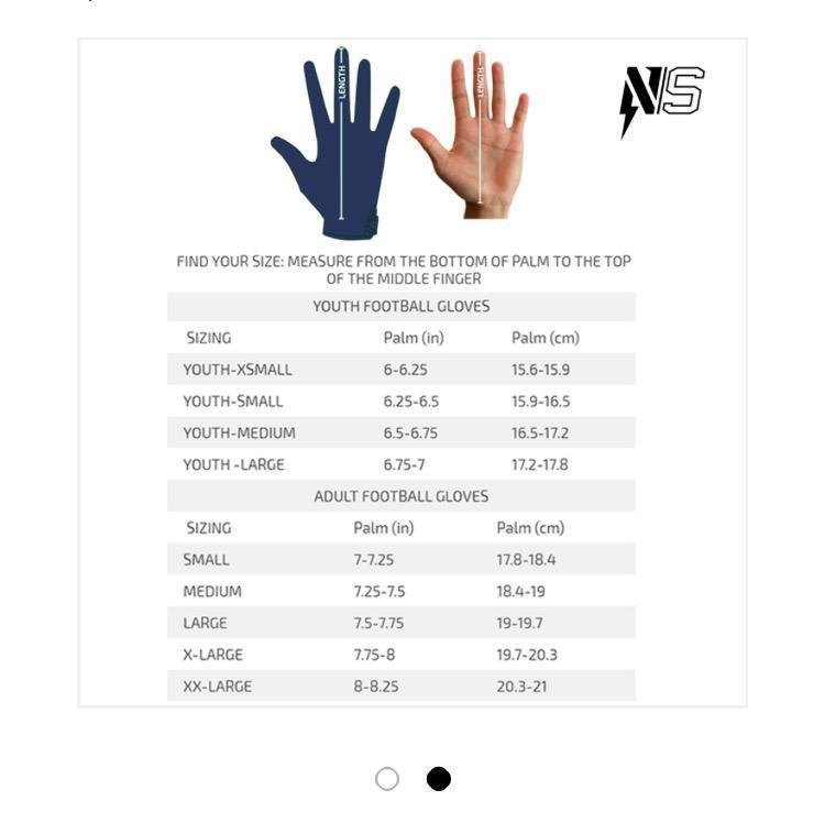 Football Glove Hand Sizing Chart
