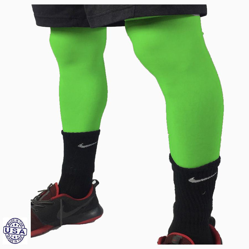 Pair of High Vis Green Basketball Leg Sleeves