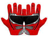 Back Hands Red Power Ranger Football Glove
