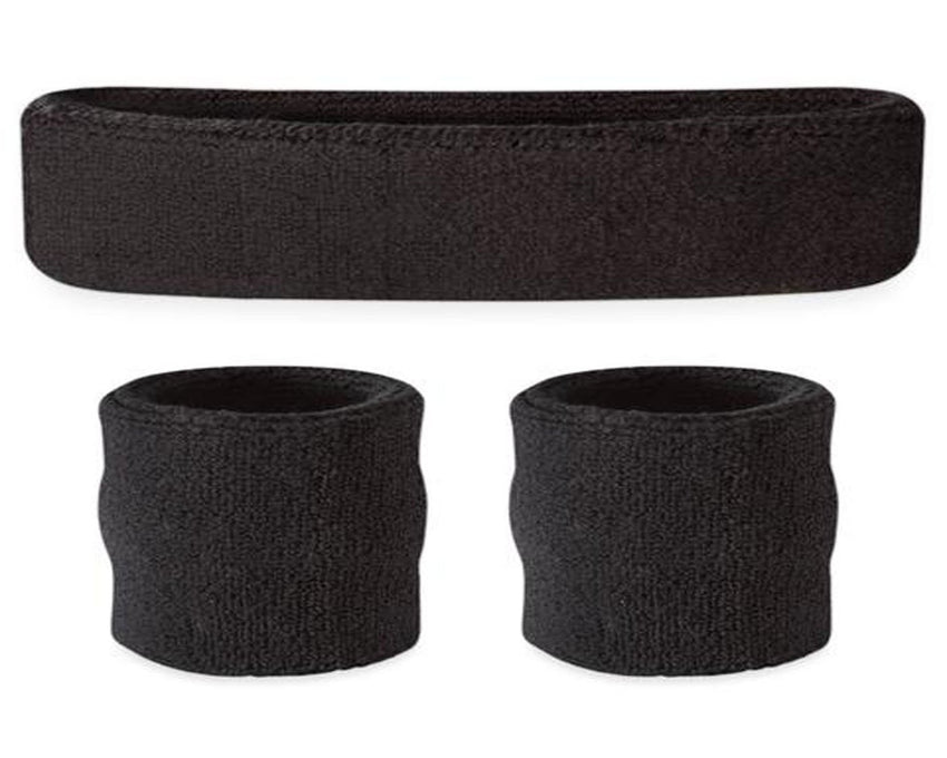 Black set of pair of sweat wristbands and headband
