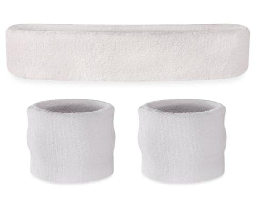 White Wristband and Headband Set