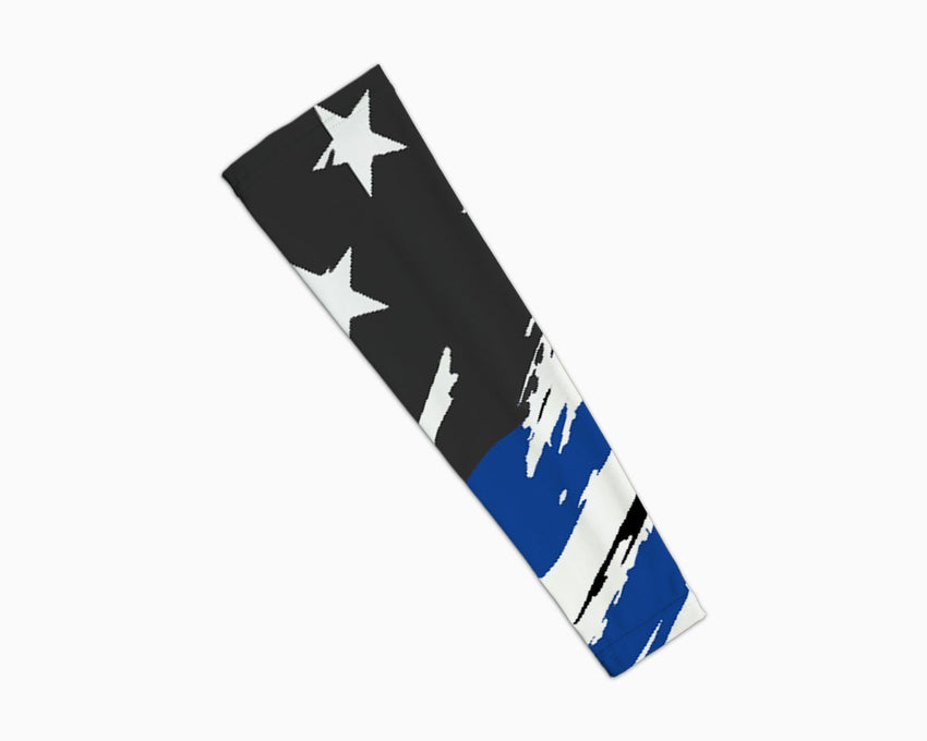 Scratched Blue Line Flag Arm Sleeve