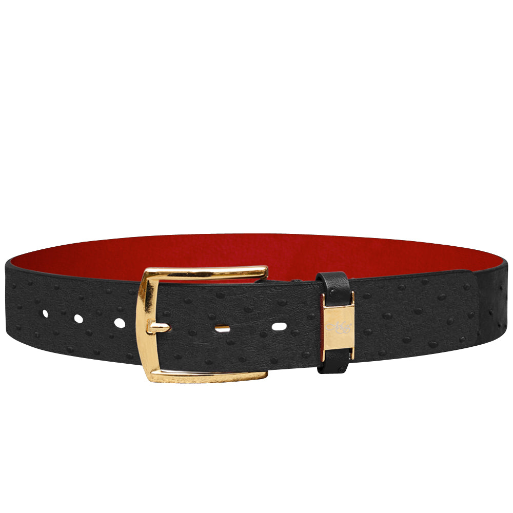 Cohen Black Ostrich Belt
