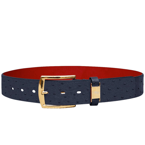 Cohen Blue Ostrich Belt