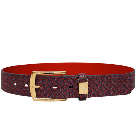 Cohen Bordeaux Caged Print Belt