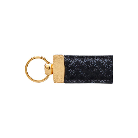 Gian Black Nubuck Caged Print Key Fob