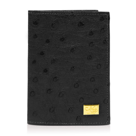 Mason Black Ostrich Passport Cover