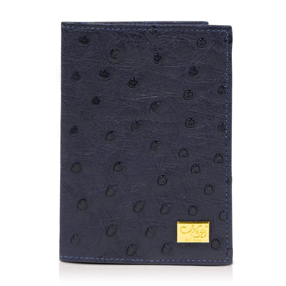 Mason Blue Ostrich Passport Cover