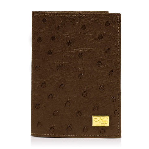 Mason Tobacco Ostrich Passport Cover