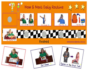Autism daily picture routine, Now & Next home routine