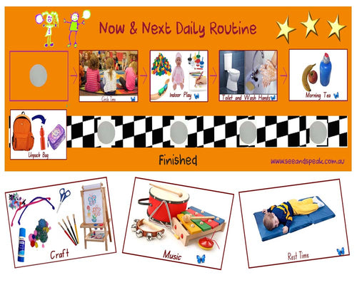 preschool daily picture routine, Autism, disability daily picture timetable