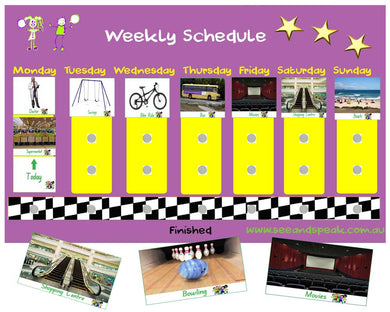 Weekly visual schedule Autism language and learning