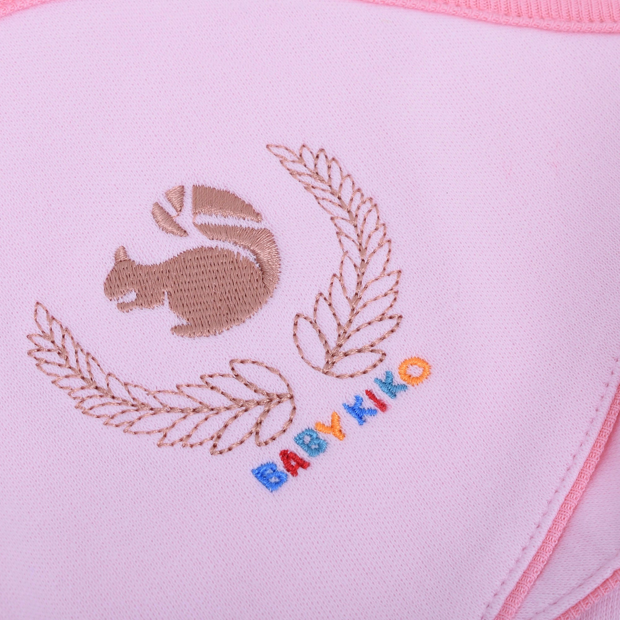 Squirrel Print Hooded Blanket- Pink