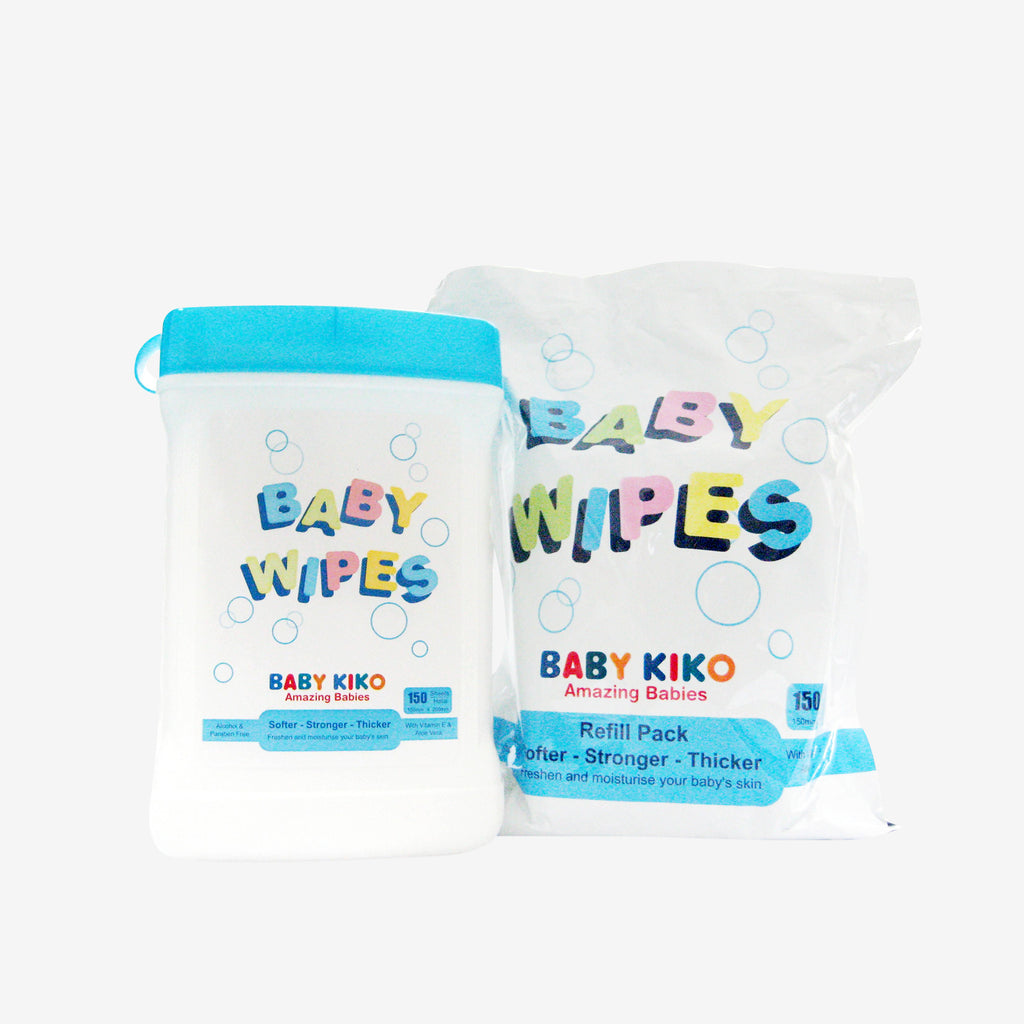 BABY KIKO Canister Baby Wipes 150's + Refill Pack 150's 3700-009