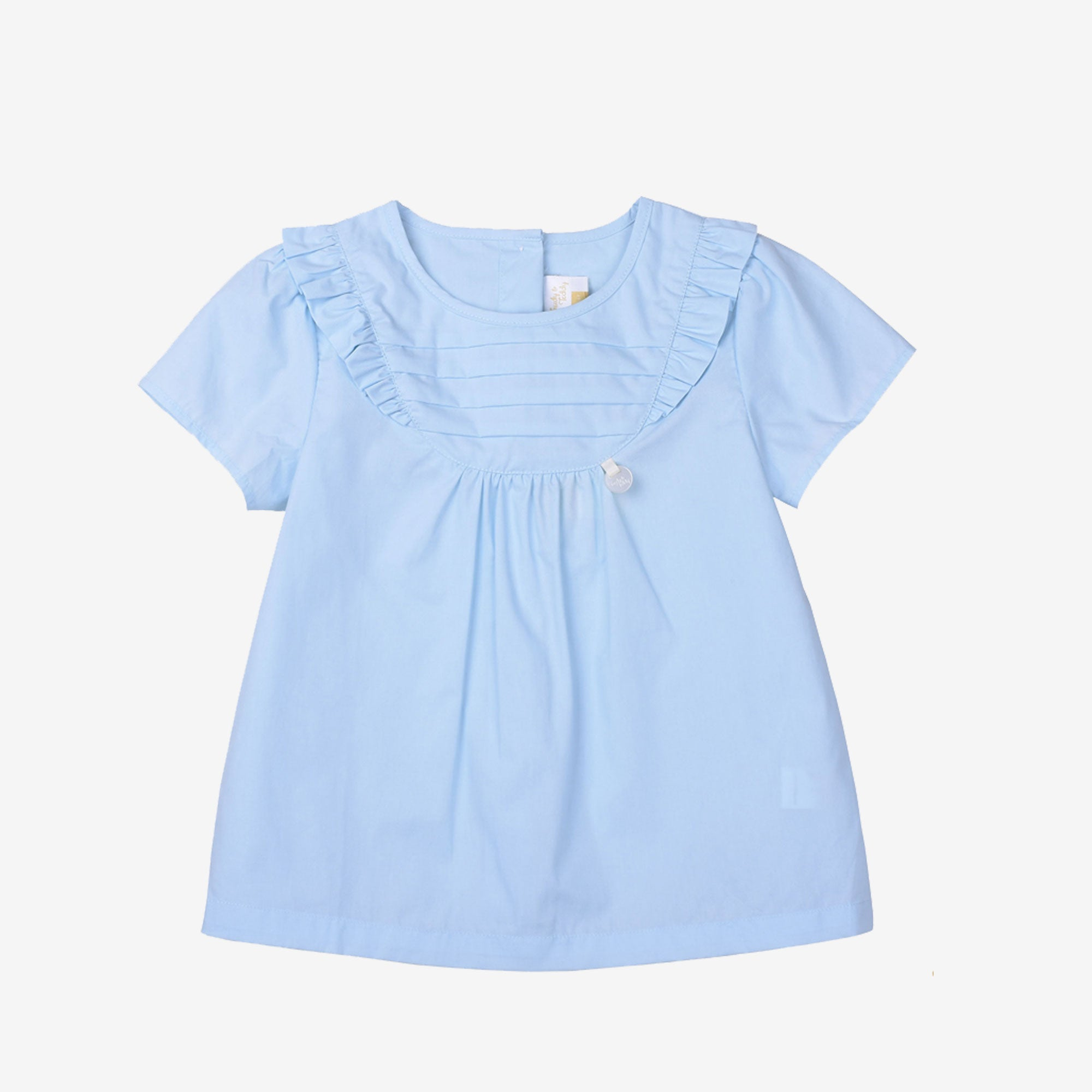 Toddler Girl Short Sleeve Blouse with Ruffles - Baby Blue