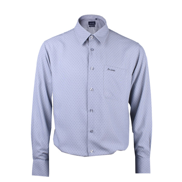 John Master Men Relax Fit Business Long Sleeve Shirt - GREY 7009001-G5