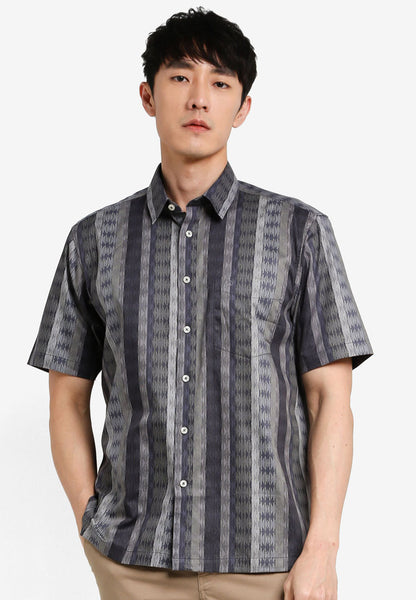 JOHN MASTER MEN TIMELESS REGULAR FIT Short Sleeve Shirt - DARK GREY 7068118-G8