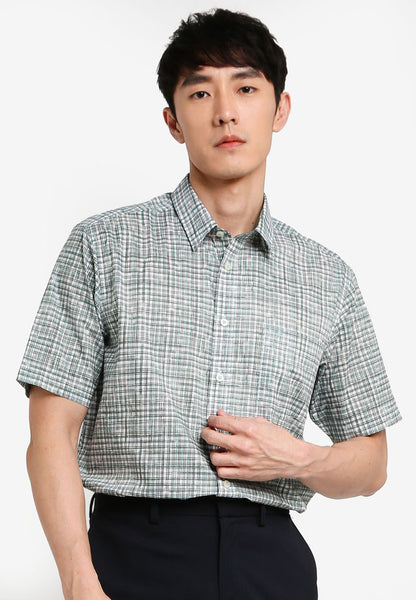 JOHN MASTER MEN TIMELESS REGULAR FIT Short Sleeve Shirt - GREEN 7068121-N5