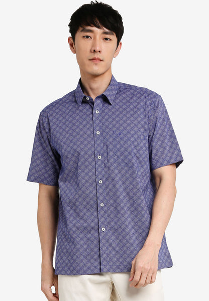 JOHN MASTER MEN TIMELESS REGULAR FIT Short Sleeve Shirt - DARK BLUE 7068124-L8