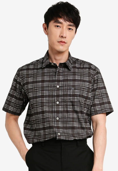 JOHN MASTER MEN TIMELESS REGULAR FIT Short Sleeve Shirt - BLACK 7068125-G9