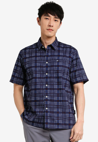 John Master Men Regular Fit Short Sleeve Shirt - NAVY 7068125-L9