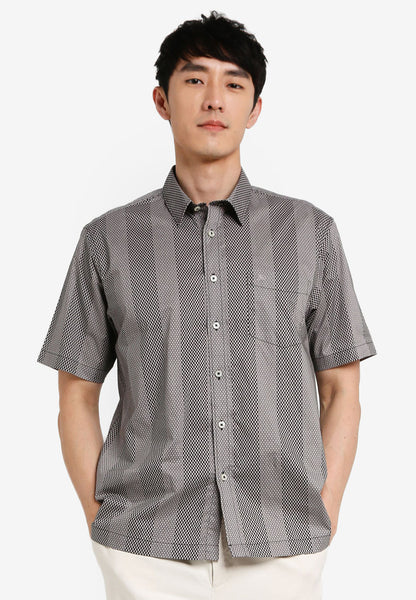 JOHN MASTER MEN TIMELESS REGULAR FIT Short Sleeve Shirt - DARK GREY 7068126-G8