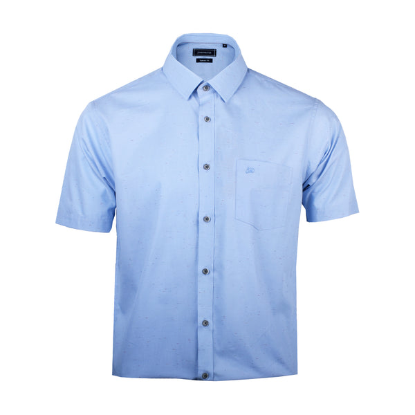 John Master Men Modern Tapered Fit Short Sleeve Shirt - BLUE 7069007-L5