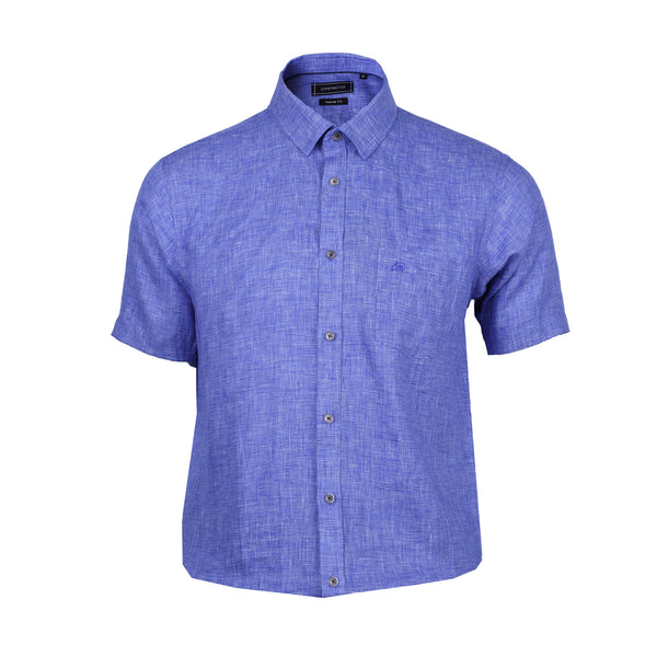 John Master Men Modern Tapered Fit Short Sleeve Shirt - BLUE 7069008-L5