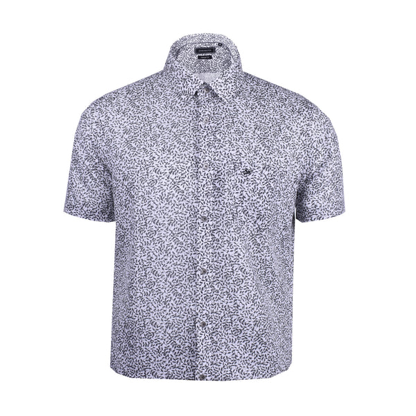 John Master Men Modern Tapered Fit Short Sleeve Shirt - GREY 7069010-G5