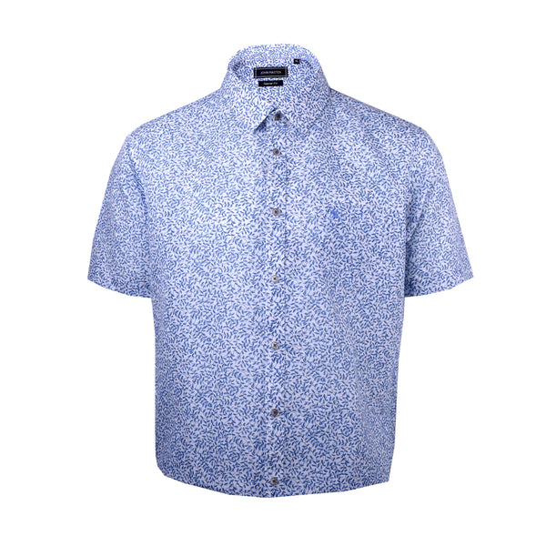 John Master Men Modern Tapered Fit Short Sleeve Shirt - BLUE 7069010-L5