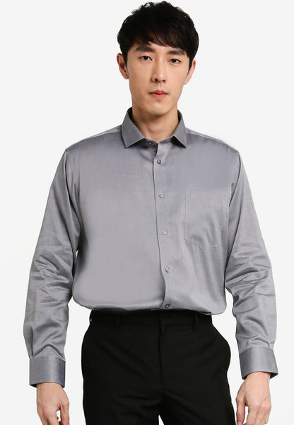 John Master Men Regular Fit Long Sleeve Shirt - GREY 7078901-G5