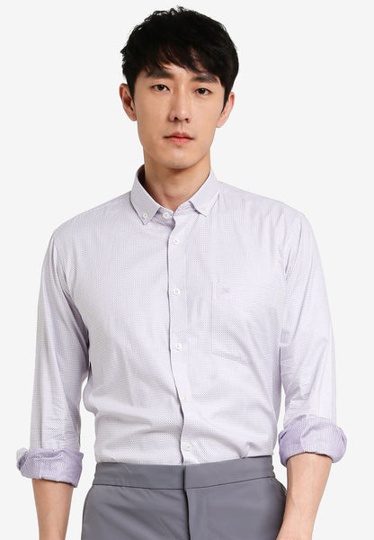 John Master Men Tapered Fit Long Sleeve Shirt - PURPLE 7089803-U5