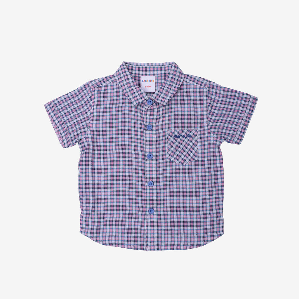 Fine Selection 100% Cotton Short Sleeve Shirt- Pink