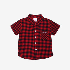Fine Selection 100% Cotton Short Sleeve Shirt- Red