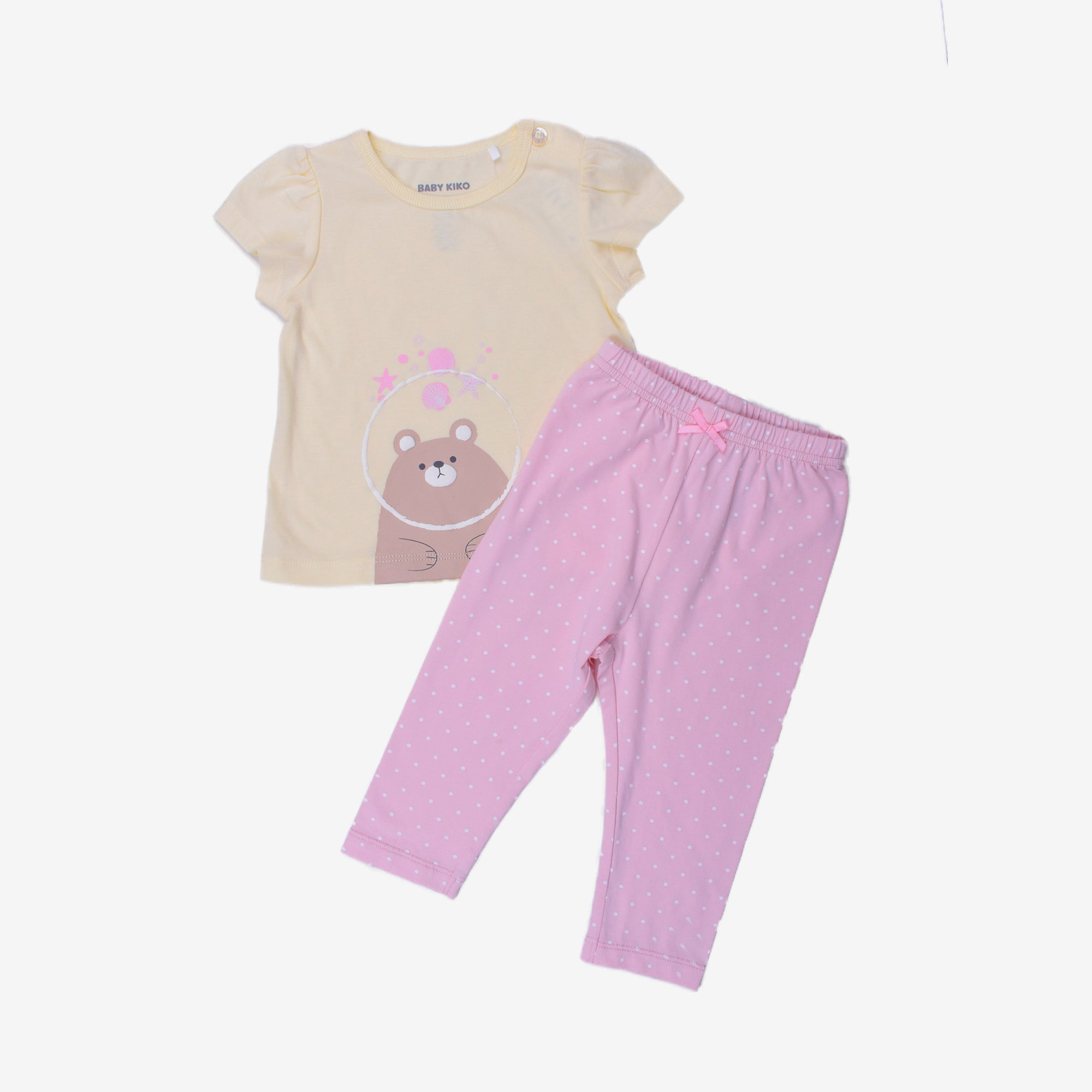 Bear Print Light Yellow Daily Casual Wear