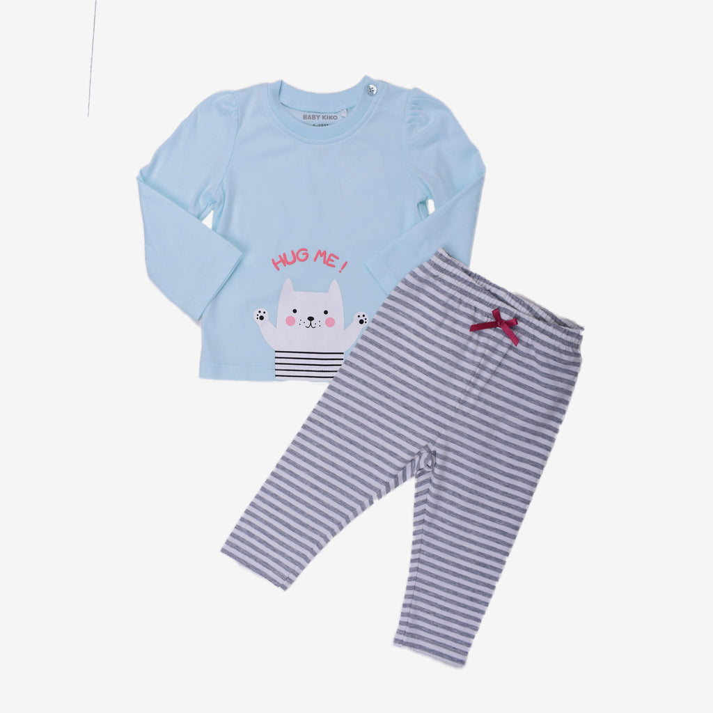 Baby Blue Puppy Print Long Sleeve Daily Casual Wear