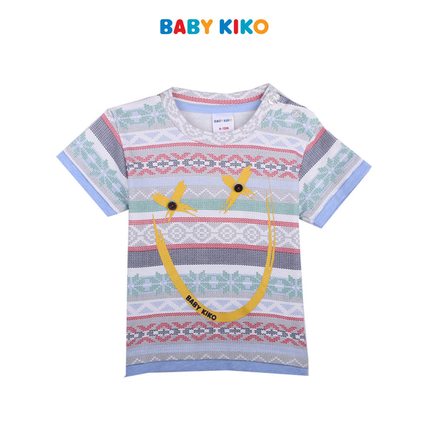 BABY KIKO BABY BOY FASHION  SHORT SLEEVES TEE- CREAM B921001-1110-W5